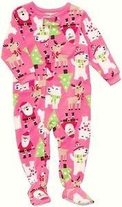 CARTER'S Girl's 4T Christmas Santa Themed Fleece Pajama Sleeper, Reindeer, Trees