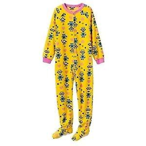 Minion Despicable Me Fleece Yellow Hearts Blanket Sleeper Girls Size 4