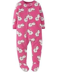 CARTER'S Child Of Mine Girl's 4T Pink Fleece Kitty Footed Pajama Blanket Sleeper