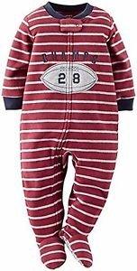 Carter's Boy's Size 4 Football Champ Fleece Footed Pajama Sleeper