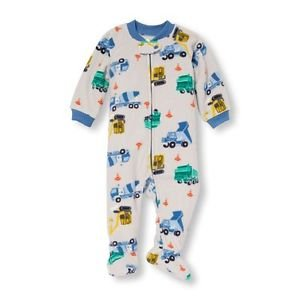 Toddler Boy's Size 3T, 4T, OR 5T Fleece Footed Construction Pajama Sleeper