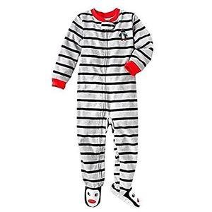 Carter's Boy's 5T Striped Penguin Fleece Footed Pajama Sleeper