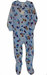 Toddler Boy's Size 3T Blue FireTruck Teddy Fleece Footed Pajama Blanket Sleeper