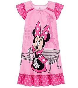 DISNEY MINNIE MOUSE Girl's Size 4 OR 5/6 Pink Paris France Gown, Nightgown