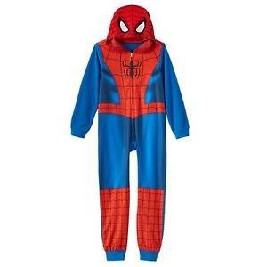 THE AMAZING SPIDERMAN SPIDER-MAN Boy's Size 8 Hooded Fleece Pajama Sleeper