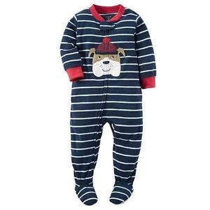 CARTER'S Boy's 3T, 4T OR 5T Striped BULLDOG Navy Fleece Footed Pajama Sleeper