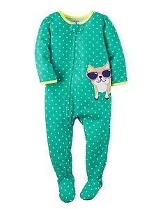 Carter's Girl's 18 Months Green Polka Dot Bulldog Footed Pajama Sleeper