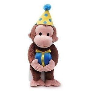 "GUND BIRTHDAY CURIOUS GEORGE 12"", with Pom Pom Hat Plush Gift"