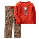 Carters Girl's Size 3T, 4T OR 5T Fleece Orange and Animal Print Kitty Pajama Set