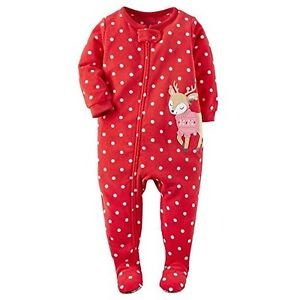 Toddler Girl's 4T Christmas Dot Reindeer Fleece Footed Pajama Sleeper