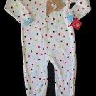 CARTER'S Girl's Size 4T Fleece Polka Dot Teddy Pajama Sleeper
