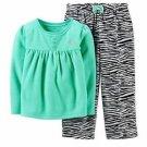 CARTER'S Girl's 4T Turquoise Heart Fleece Top, Zebra Print Pants Pajama Set