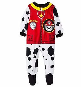 PAW PATROL Boys 3T, 4T, 5T Fire Dog MARSHALL Fleece Footed Pajama Sleeper
