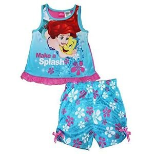 Little Mermaid and Flounder Girl's 3T OR 4T Pajama Tank Polyester Shorts Set