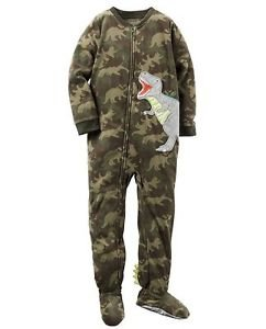 Carter's Boys 6, 7, OR 8 DINOSAUR CAMOUFLAGE DINO Fleece Footed Pajama Sleeper