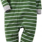 CARTER'S Boy's 3T, 4T OR 5T Striped Puppy Dog Fleece Footed Pajama Sleeper
