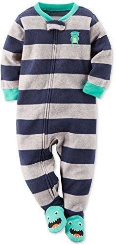 Carter's Boy's 5T Striped Monster Alien Robot Fleece Footed Blanket Pajama