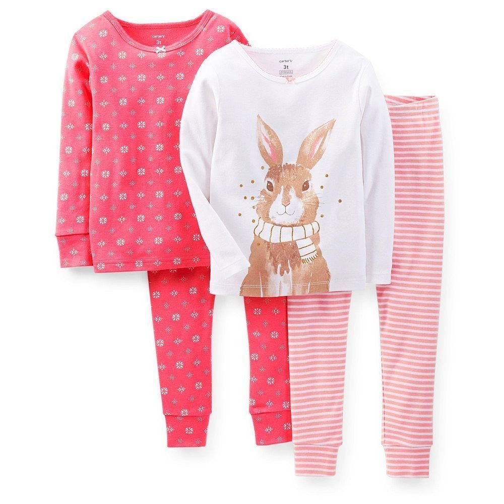 CARTER'S Girl's 4-Piece 6 Months Coral Floral, Glitter Bunny Pajama Set