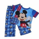 DISNEY MICKEY MOUSE Boy's 12 OR 24 Months Pajama Tee Plaid PJ Pants Set