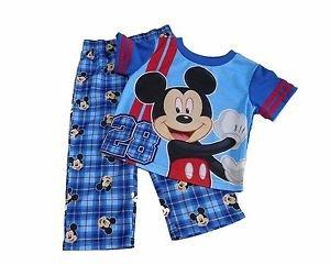 DISNEY MICKEY MOUSE Boy's 12 OR 24 Months Pajama Tee Plaid PJ Pants Set