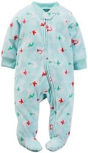 CARTER'S Baby Girls 4T Mint Green POLAR BEAR Fleece Footed Pajama Sleeper