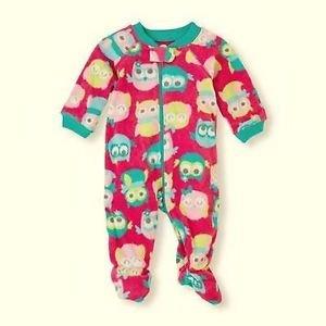 THE CHILDREN'S PLACE Girl's 3T Pink Owl Fleece Footed Pajama Sleep, Plush, Warm!