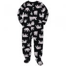 CARTER'S Boy's 3T OR 4T Black Polar Bear Winter Fleece Footed Pajama Sleeper