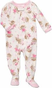 Carter's Girl's Size 4T Fleece Footed Pajama Sleeper, Monkey Dance Princess