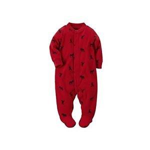 Carter's Red Moose Baby Boy's Fleece Zip-up Sleep & Play Size 3 Months