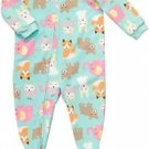 CARTER'S Girl's 5T Sleepy Animals Fleece Footed Pajama Sleeper