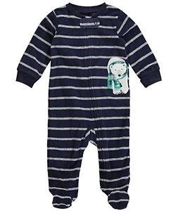 Carter's Striped Polar Bear Newborn Baby Boy's Fleece Zip-up Sleep & Play