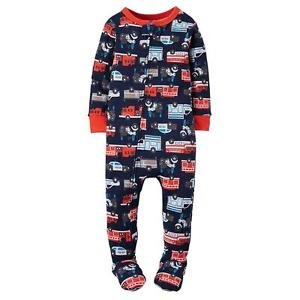 Boy's 4T OR 5T Navy Fire Truck Rescue Vehicles Footed Jersey Pajama Sleeper