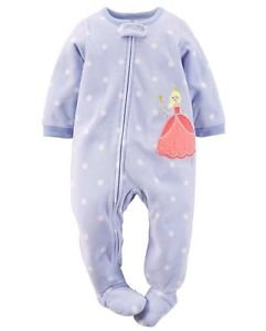 CARTER'S Girl's Size 3T Purple Dot Princess Fleece Blanket Pajama Sleeper