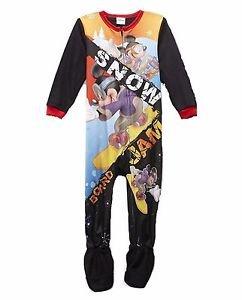 Disney MICKEY MOUSE Snow Boarding Boy's 3T Fleece Footed Blanket Pajama Sleeper