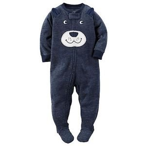 CARTER'S Boy's Size 3T, 4T OR 5T Puppy Dog Face Fleece Footed Pajama Sleeper