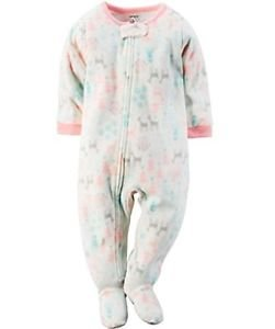 Carter's Baby Girl's 3T OR 4T Winter Deer Snow Themed Fleece Footed Pajama