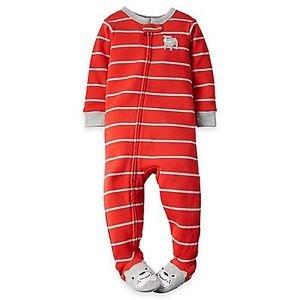 Carter's Boy's 24 Months Orange Striped BULLDOG, Dog Footed Pajama Sleeper