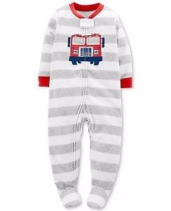Carter's Toddler Boy's 4T Striped Firetruck Fleece Footed Pajama Sleeper
