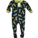 Carter's Boy's 12 OR 18 Months Glow-in-the-Dark Space Fleece Footed Pajama
