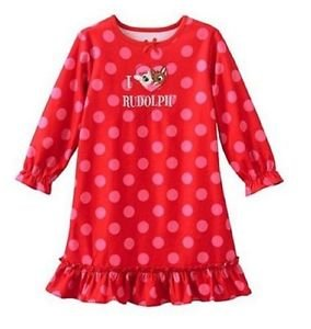 Girl's 3T I Love Rudolph Red Flannel Dot Nightgown, Gown, Official Licensed