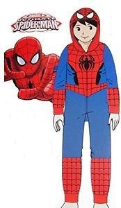 THE AMAZING SPIDERMAN SPIDER-MAN Boy's Size 10 Hooded Fleece Pajama Sleeper, PJ