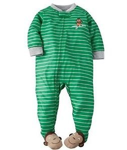 Carter's Boy's 24 Months Green Striped MONKEY SURF Footed Pajama Sleeper
