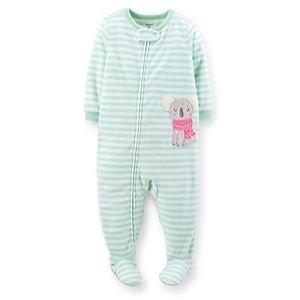 Carter's Girl's 3T, 4T, 5T Mint Green Striped Koala Fleece Footed Pajama Sleeper