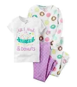 CARTER'S Girl's 4, 5, 6 OR 7 Donut Sprinkles Love 4-Piece Cotton Pajama Set