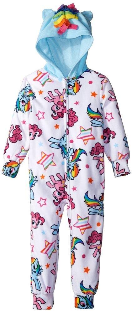 MY LITTLE PONY Girl's 4, 6, 8 OR 10 Fleece Hooded Pajama Sleeper, Rainbow Dash