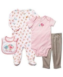 CARTER'S Baby Girl's 3 Months I LOVE AUNTIE 4-Piece Layette Set, Sleeper, Ouftit