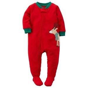 CARTER'S Boys Size 18 Months Fleece Red Christmas Reindeer Pajama Footed Sleeper
