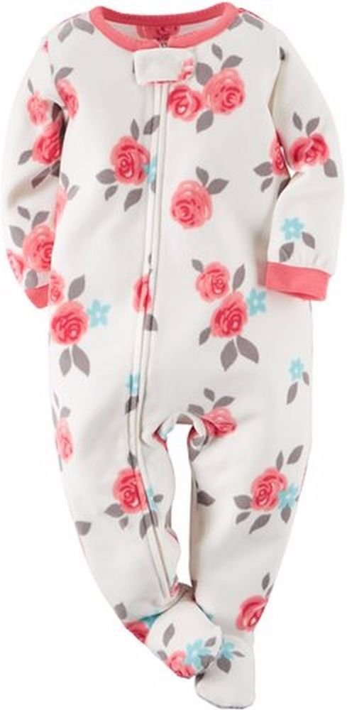 Carter's Girl's 3T, 4T OR 5T Fleece Rose Blanket Pajama Footed Sleeper, Footie