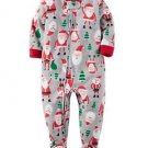 CARTER'S Boy's 3T, 4T OR 5T Christmas Santa Fleece Footed Pajama Sleeper