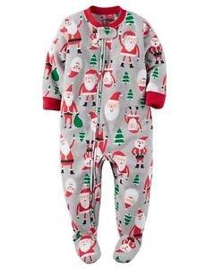 CARTER'S Boy's 3T, 4T OR 5T Christmas Santa Fleece Footed Pajama Sleeper
